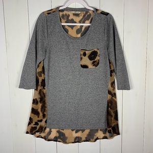 Soft Surroundings Gray/Animal Print Sz S Tunic Top